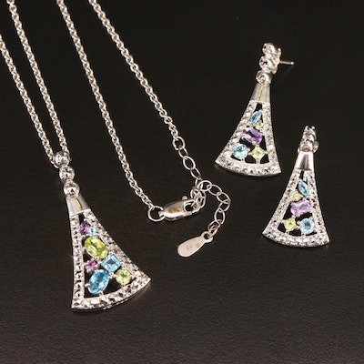 Krementz Sterling Topaz, Peridot and Amethyst Necklace and Earring Set