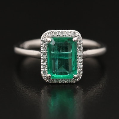 14K 1.86 CT Emerald and Diamond Halo Ring with GIA Report