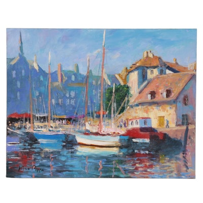 "Nino Pippa Oil Painting ""Normandy - Honfleur Old Harbor,"" 2017"