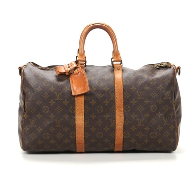Louis Vuitton Keepall Bandouliere 45 in Monogram Canvas and Vachetta Leather