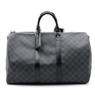 Louis Vuitton Keepall Bandouliere 45 Duffel Bag in Damier Graphite Canvas