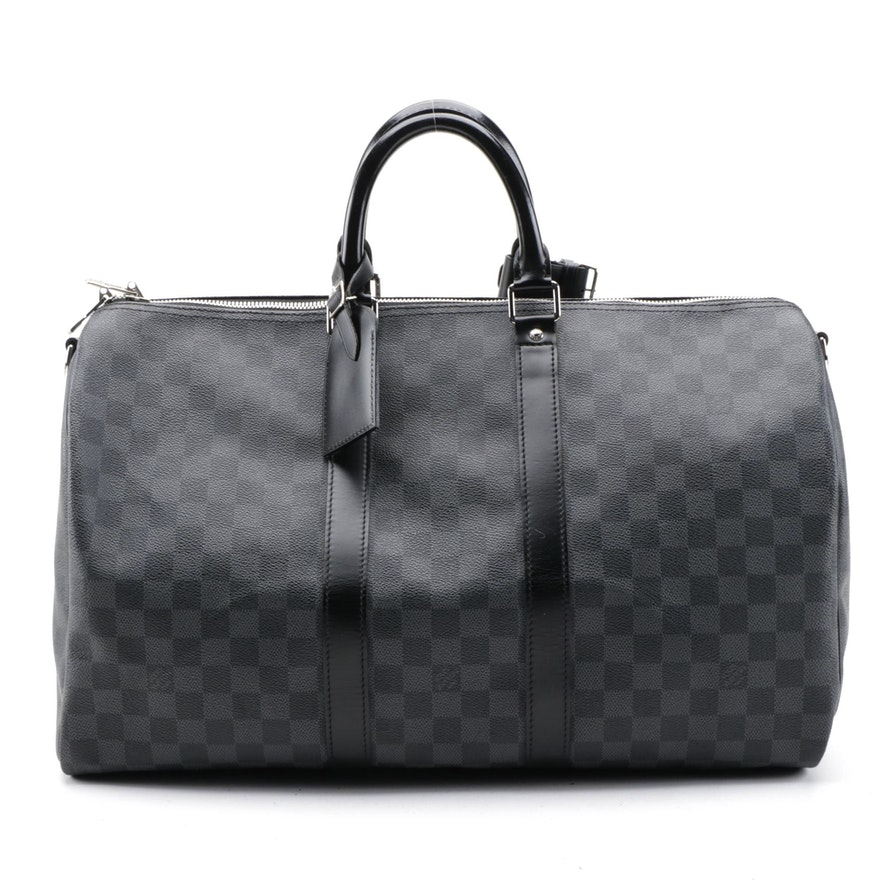 Louis Vuitton Keepall Bandouliere 45 Duffel Bag in Damier Graphite Canvas