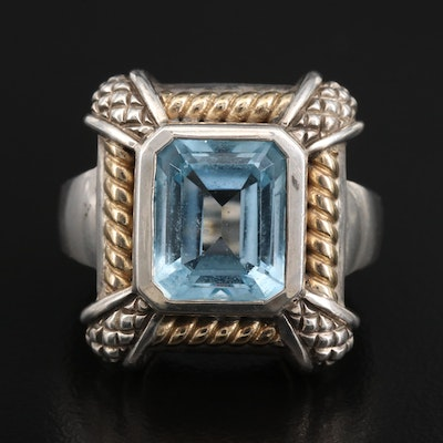 Sterling Silver Topaz Ring with 18K Accents