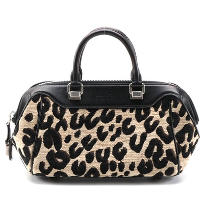 Louis Vuitton Limited Edition Leopard Chenille and Leather Baby Bag