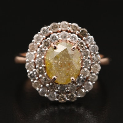 14K 3.30 CTW Diamond Double Halo Ring