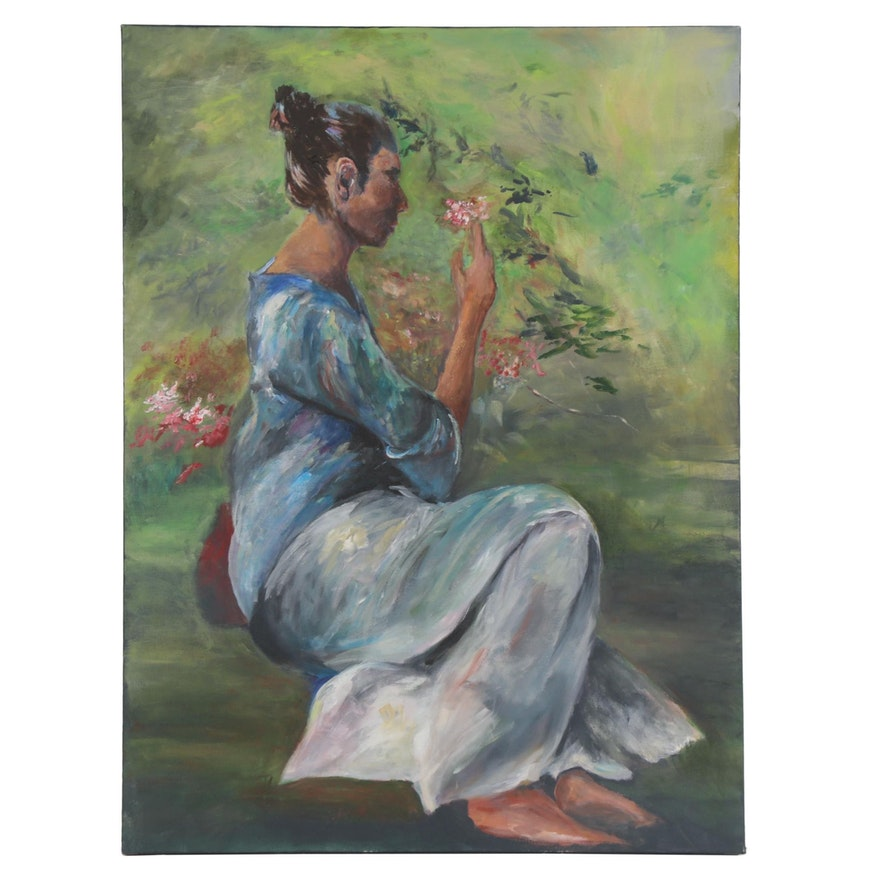 Figural Oil Painting of Woman in Garden, 21st Century