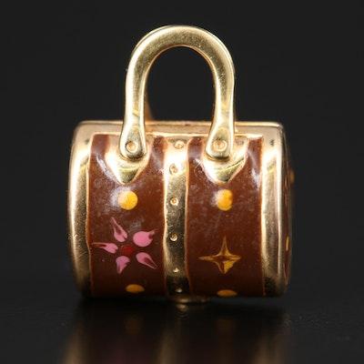 Italian 14K Enamel Handbag Charm