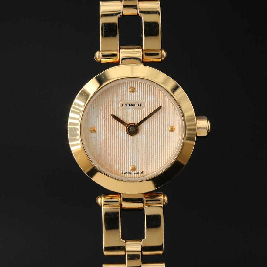 Coach Stainless Steel Gold Tone Quartz Wristwatch