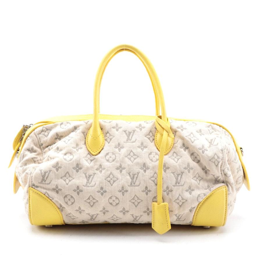 Louis Vuitton Limited Edition Monogram Jaune Denim Round Speedy Bag