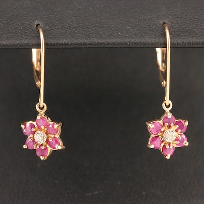 10K Diamond and Ruby Floral Drop Earrings