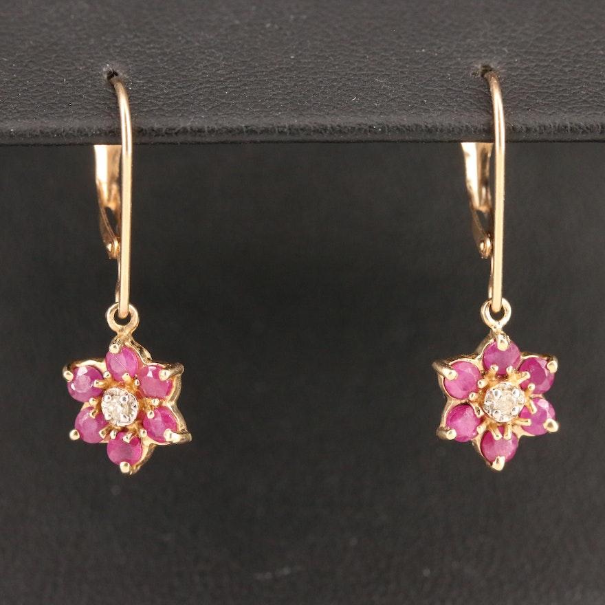 10K Diamond and Ruby Floral Drop Earrings