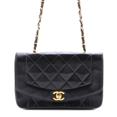 Modified Chanel Diana Flap Bag in Quilted Black Lambskin Leather
