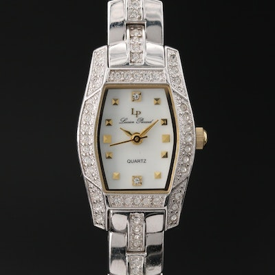 Lucien Piccard Glass Crytal Accented Wristwatch