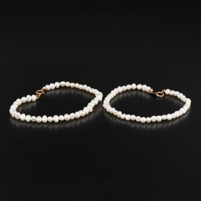Semi-Baroque Pearl Bracelets with 14K Clasps
