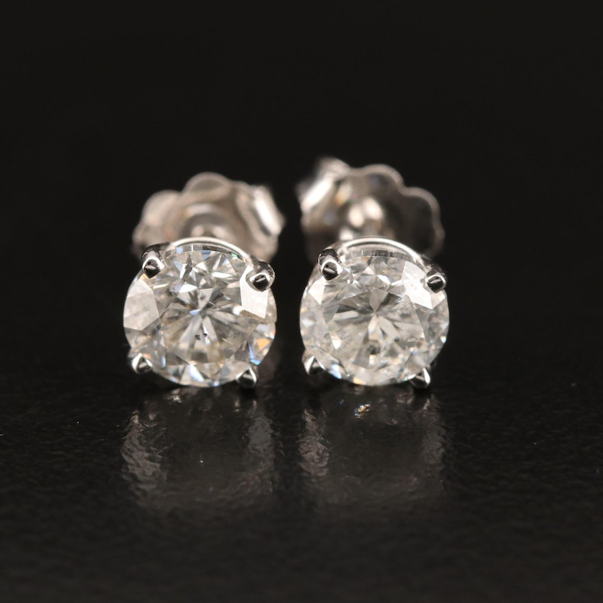 18K 2.06 CTW Diamond Stud Earrings with GIA Reports