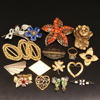 Antique and Vintage Brooches Including Sterling and Featuring Raleigh