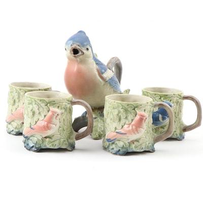 Takahashi Japan Ceramic Blue Jay Teapot and Bird Motif Mugs, Late 20th Century