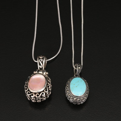 Sterling Reversible Mother of Pearl, Turquoise and Marcasite Pendant Necklaces