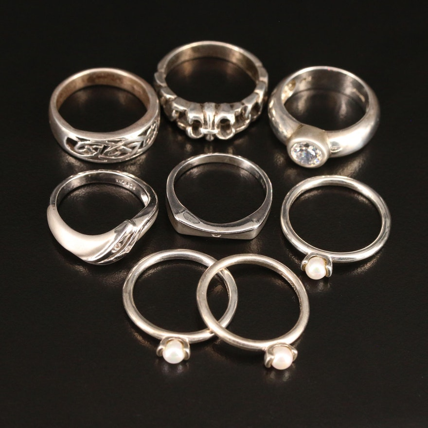 Sterling Rings Featuring Diamond, Cubic Zirconia and Faux Pearl