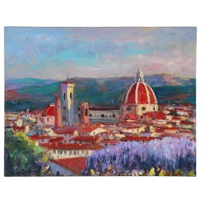 "Nino Pippa Oil Painting ""Florence - Santa Maria del Fiore from Giardino Bardini"""