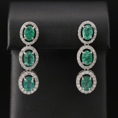14K Emerald and 1.60 CTW Diamond Drop Earrings