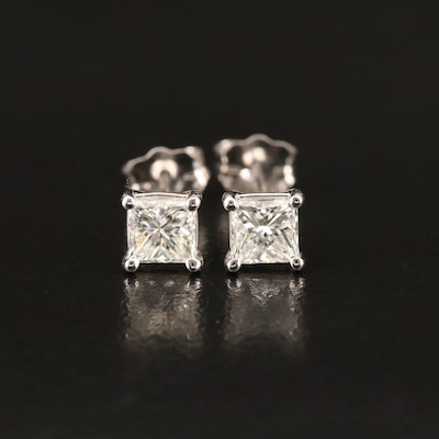 Platinum 0.90 CTW Diamond Stud Earrings with Links to GIA eReports