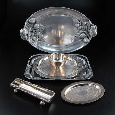 "Oneida ""Park Lane""and Other Silver Plate and Aluminum Serving Trays"