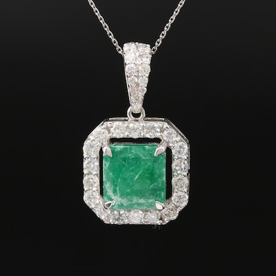 14K 3.95 CT Emerald and 1.38 CTW Diamond Pendant Necklace