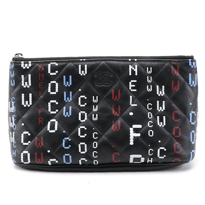 Chanel Quilted Lambskin Leather Data Center Printed Zipper Pouch
