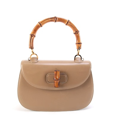 Gucci Medium Bamboo Two-Way Top Handle Bag in Beige Leather
