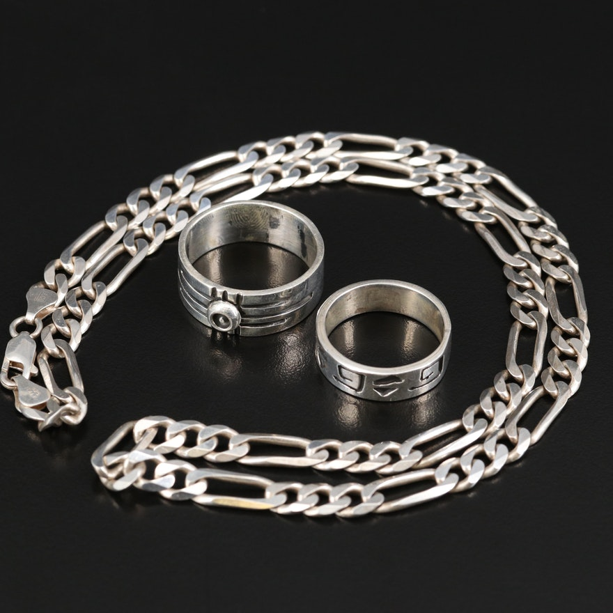 Sterling Silver Figaro Chain and Ring Selection