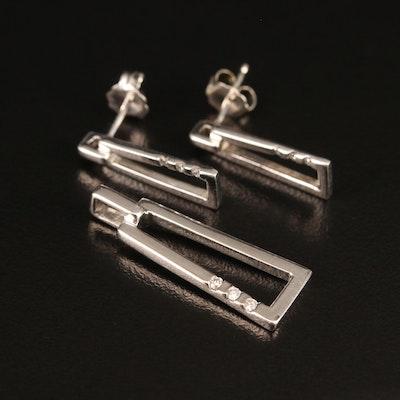 Sterling Diamond Earring and Pendant Set