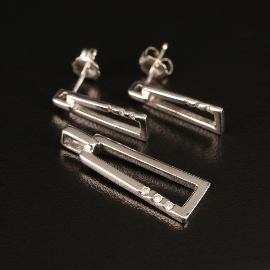 Sterling Diamond Earring and Pendant Set