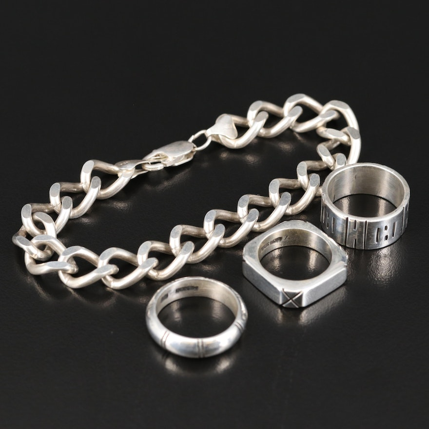 Sterling Silver Curb Link Bracelet and Ring Selection