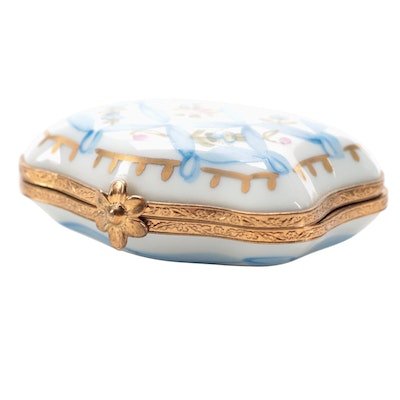 Hand-Painted Floral Motif Porcelain Limoges Trinket Box