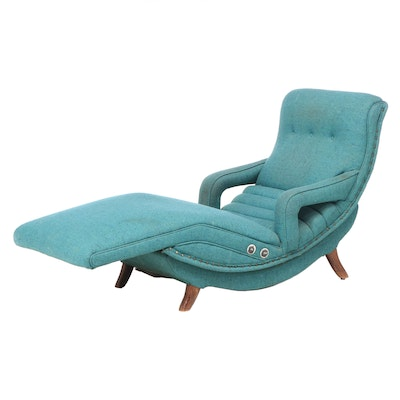 Mid Century Modern Upholstered Contour Style Recliner
