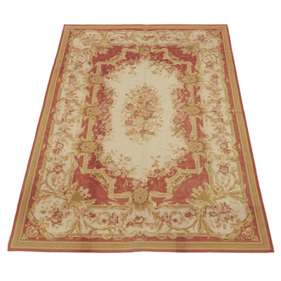 5'8 x 8'8 Handmade Sino-French Aubusson Style Needlepoint Area Rug