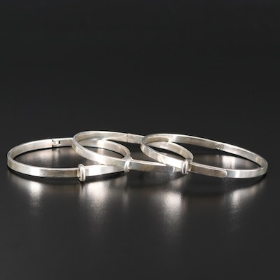 Sterling Silver Adjustable Buckle Bracelets