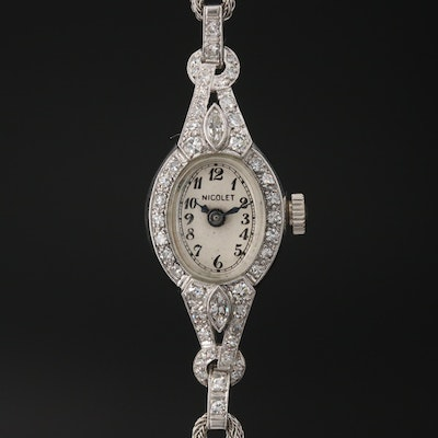 Nicolet Platinum Diamond Stem Wind Wristwatch