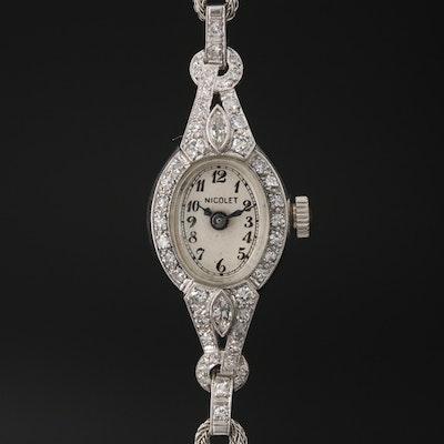 Nicolet Platinum Diamond Stem Wind Wristwatch