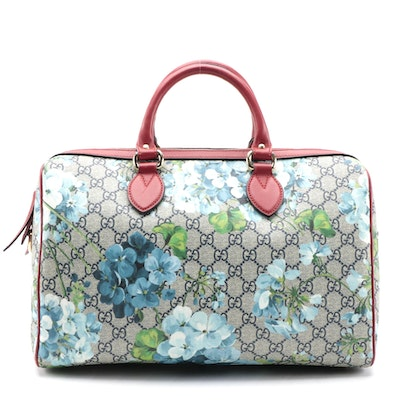 Gucci Two Way Boston Bag in Blooms Print GG Coated Canvas