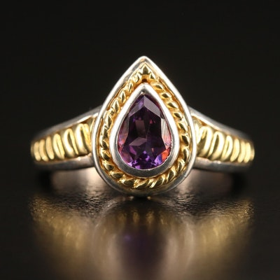 Krementz Sterling Silver Amethyst Ring with 18K Accents