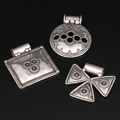 Sterling Silver Geometric Pendants with Granulated Details
