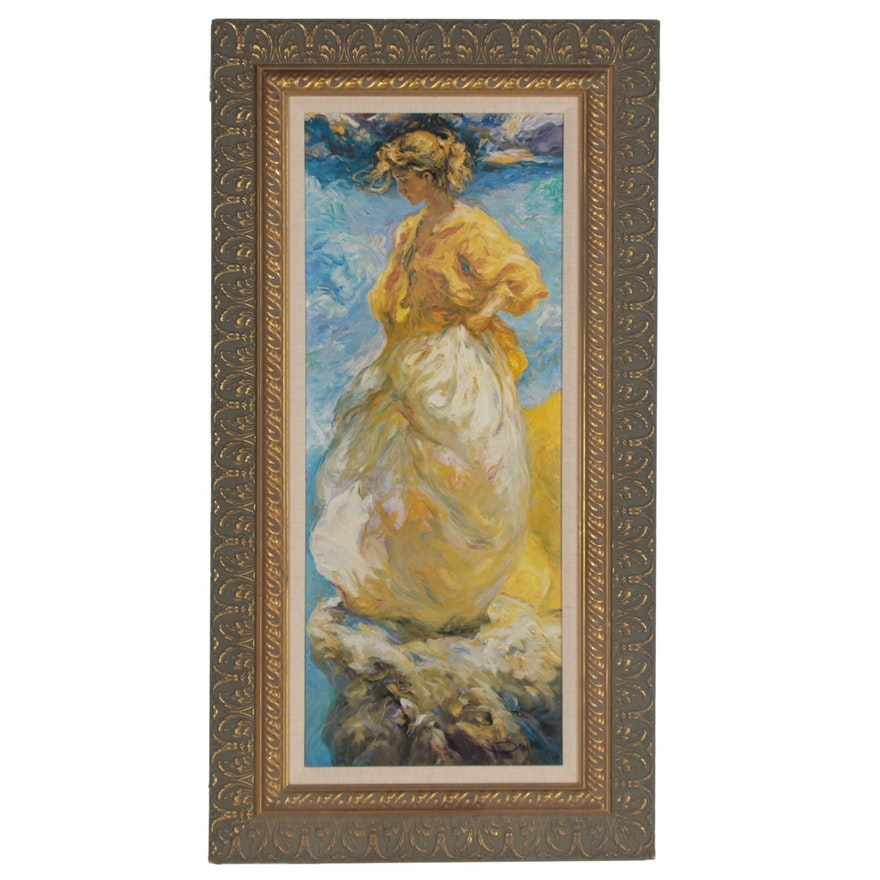 Impressionist Style Offset Lithograph of Woman after Jose Royo