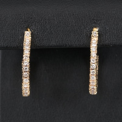 14K 1.02 CTW Diamond Hoop Earrings
