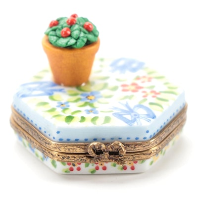 Hand-Painted Porcelain Floral Motif Limoges Trinket Box