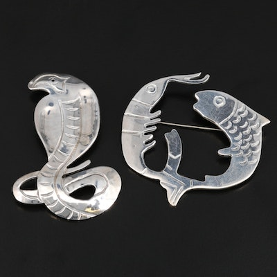 Mexican Sterling Silver Snake and Sea Life Brooches