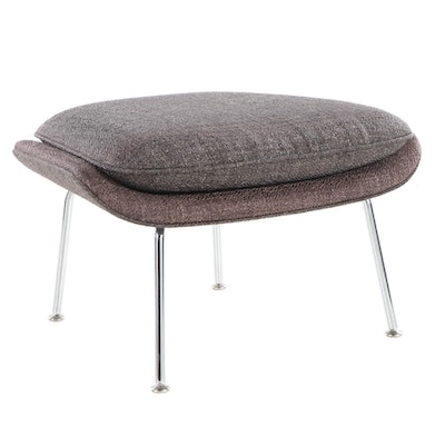 "Eero Saarinen for Knoll ""Womb"" Upholstered Ottoman with Chrome Base"