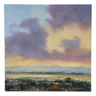 "Stephen Hedgepeth Landscape Oil Painting ""Evening Brilliance,"" 2021"