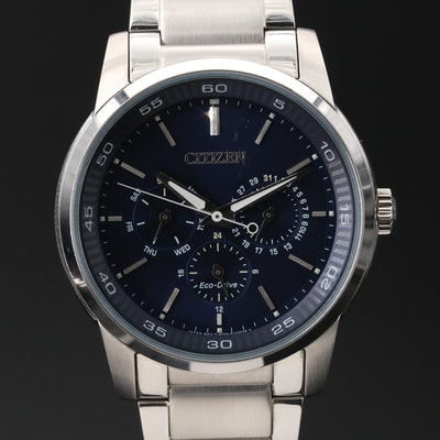Citizen Eco-Drive Day-Date Stainless Steel Quartz Wristwatch